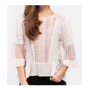 POL lace panels bell sleeve top